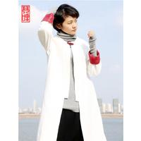 琴哩****设计2015秋冬气质文艺范风衣 棉麻中长款外套女修身