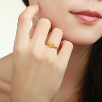 心心相印 黄金戒指 女款结婚戒指