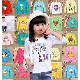 龙井市厂家批发秋季童装长袖T恤儿童服装关爱小孩健康成长好衣服