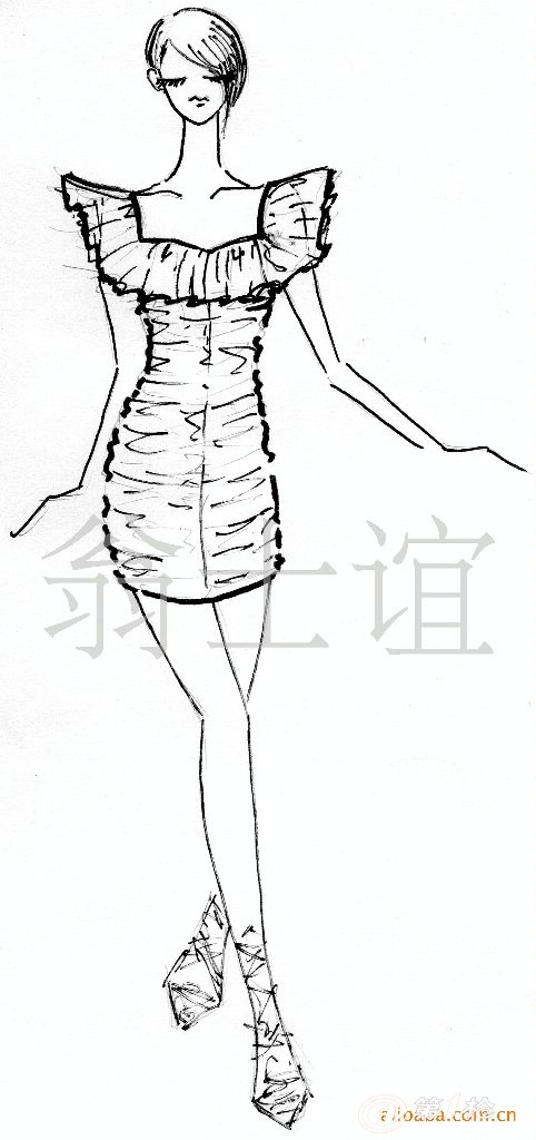 现代服装简笔画带步骤