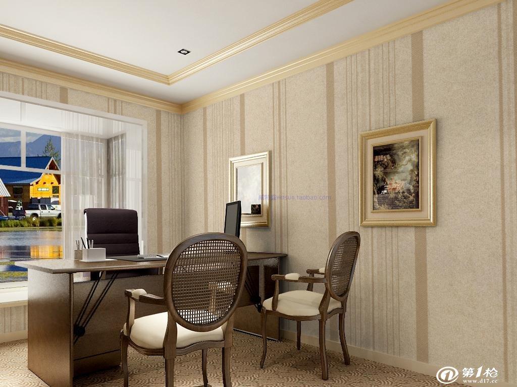 威特盛欧式素色风格高档无纺布竖条纹墙纸客厅电视墙