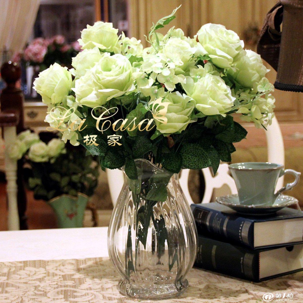 外贸欧式马蹄莲口玻璃小号花瓶+2雅典玫瑰彩色浮雕花瓶波浪口花插