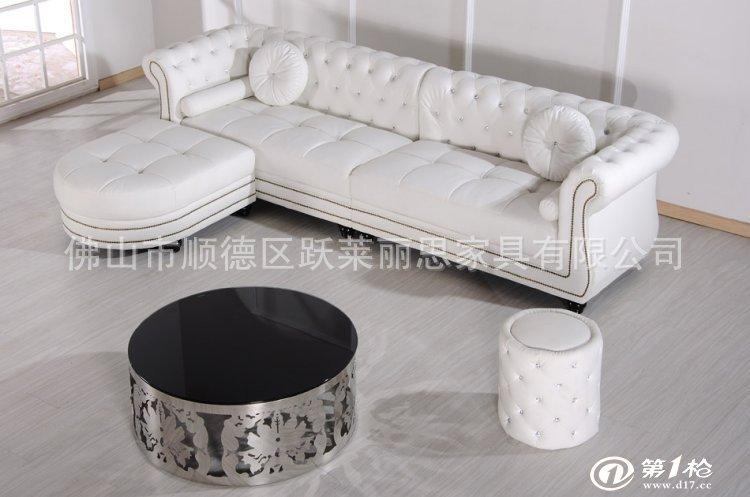 欧式真皮沙发客厅组合 新古典转角沙发 香槟色简欧沙发订做 sf682
