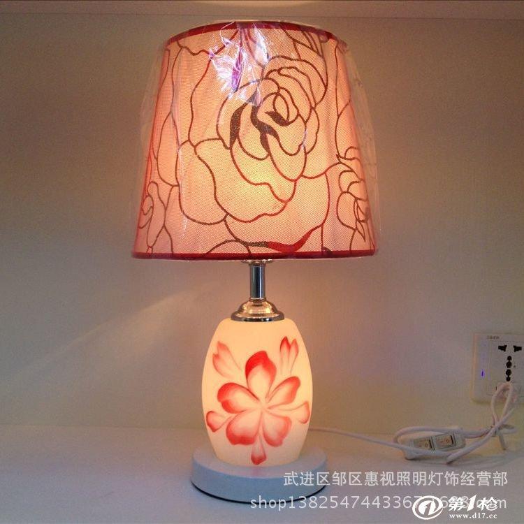 现代装饰台灯卧室床头灯带夜灯温馨欧式公主双开关台灯具特价批发
