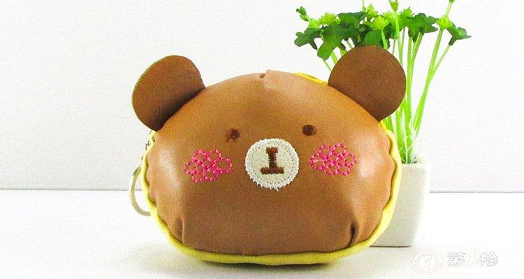 批发韩国小清新可爱零钱包pu皮加棉钥匙包卡通小熊硬币包礼品包