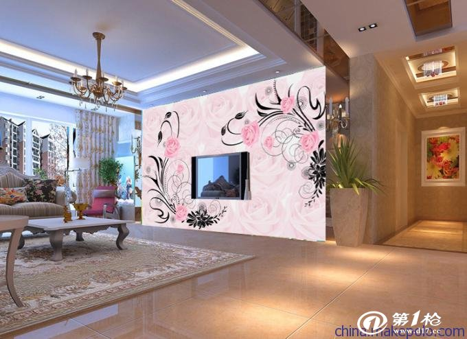 佰晟电视背景墙纸壁纸3d壁画无纺布客厅卧室欧式温馨
