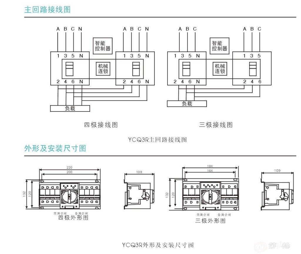 自动转换开关控制器的工作电源取自断路器qn和qr的