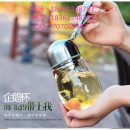 供应厂家宏华400ml玻璃企鹅杯高白玻璃