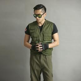 新款摄影多口袋帆布军绿无领时尚马甲