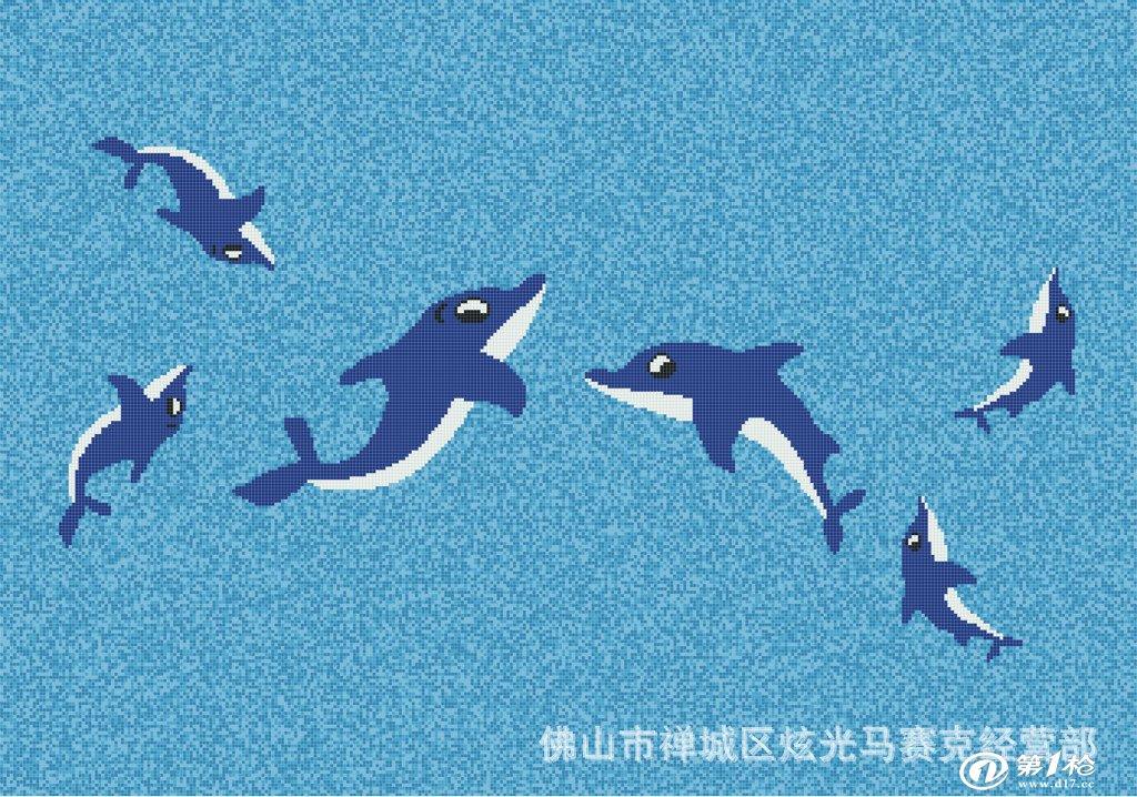 设计精美泳池拼图 泳池海豚拼图马赛克 游泳池拼图 马赛克拼图
