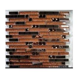 盛世朝歌品牌<em>水晶玻璃</em><em>马赛克</em><em>金箔</em>长条,电视背景,厨房,卫浴棕色