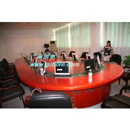 供应博奥椭圆形升降会议桌 广州电动液晶屏升降会议桌生产厂家