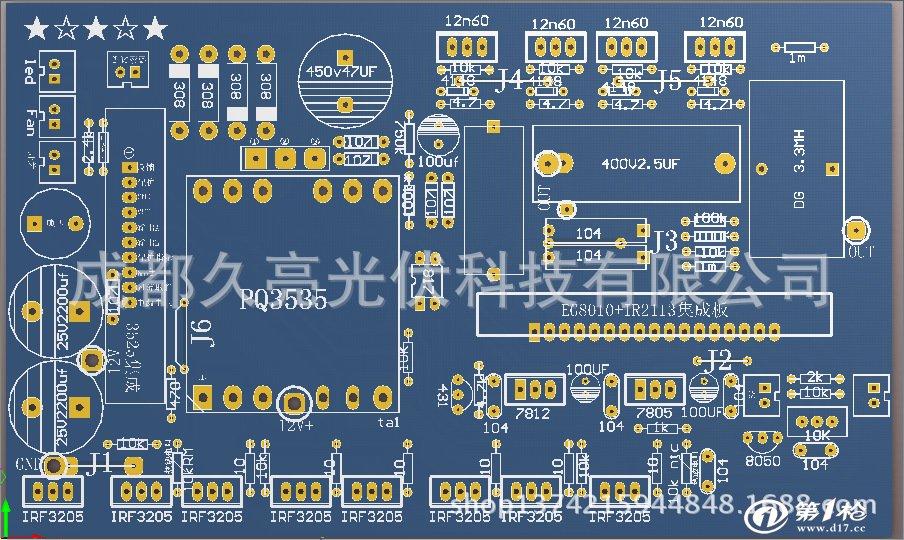 纯正弦波300w500w逆变器,车用,船用,太阳能逆变器,低价赚人气  为赚人气,本公司低价销售高频正弦波逆变器,可提供DIY套件。这个正弦波逆变器板布局合理,调试简单,使用方便,具有防反接,过流,欠压,过温自锁保护,并的蜂鸣器报警指示,停电后只要有12蓄电池供电,可以用于电脑,风扇,电灯,等500W内的用电器使用