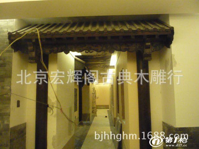 供应室内古建门楼装修 中式室内装修 花格吊顶 屏风 商铺门楼装饰