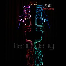 舞台led光纤发光连体舞蹈服饰 酒吧街舞发光荧光演出衣服装扮