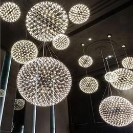 吊灯创意个性餐厅灯LED火花球创意烟花满天星空现代客厅吊灯