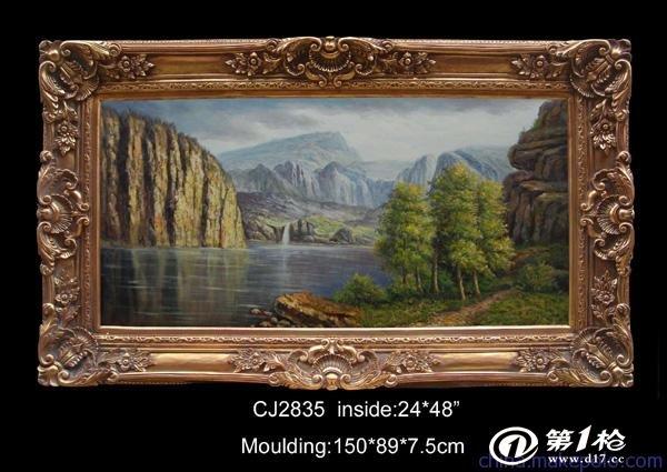 厂家出口欧式实木油画相框批发|古典风景油画框|60x90cm内径