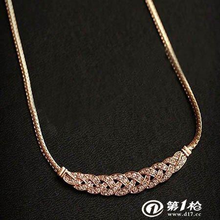 欧美明星设计满钻麻花闪钻礼服短项链锁骨链蛇骨链 m186