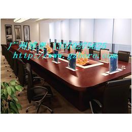 供应天津长方形实木多媒体超薄液晶屏升降会议桌