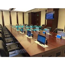 供应合肥实木多媒体培训室液晶升降会议桌