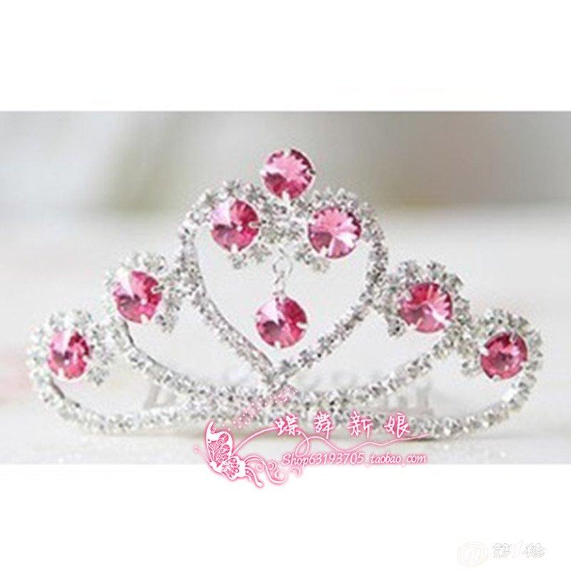 批发流行儿童皇冠水钻发夹儿童发梳儿童头饰小公主发卡爱心款式