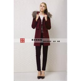 简约风情专柜正品女装时尚狐狸毛领含羊毛气质毛呢衣服