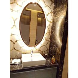 会所欧式玫瑰金椭圆形不锈钢包边浴室镜柜镜