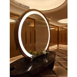 厂家定制酒店会所圆形彩色拉丝不锈钢包边浴室镜