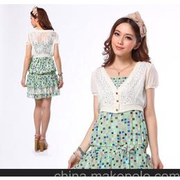 日系甜美两件套短袖抹胸雪纺连衣裙