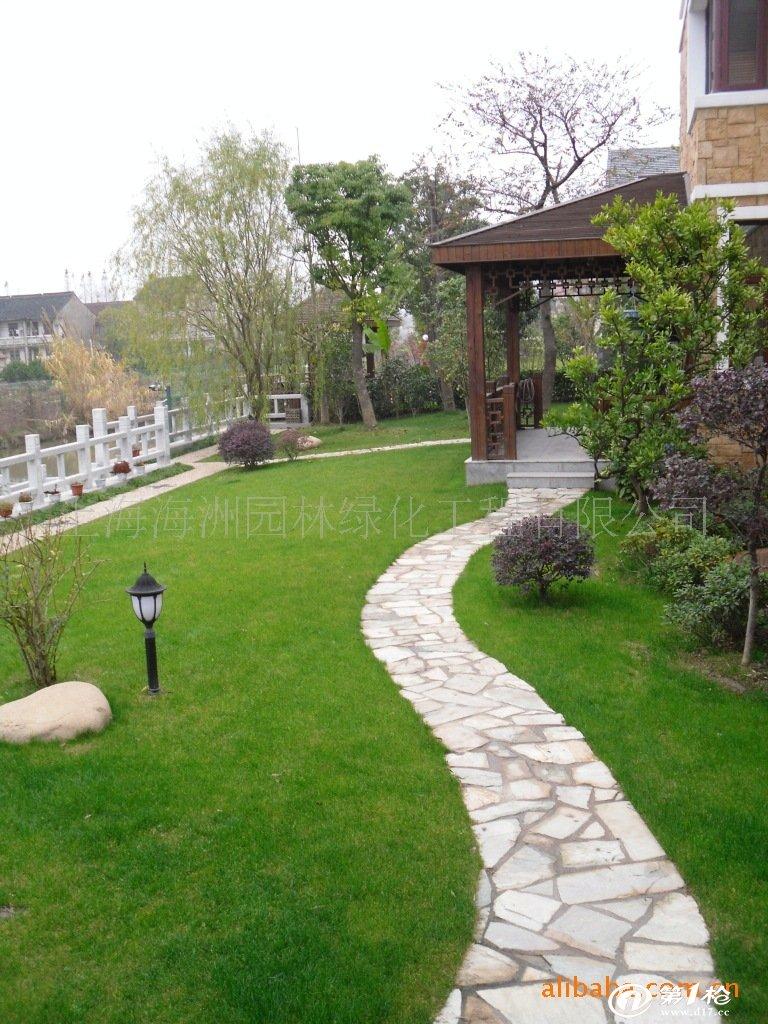 河道围栏,石路铺装,木质景观亭,别墅庭院装修,居住区绿化