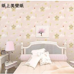 无纺布墙纸 儿童房卧室背景墙壁纸 卡通男孩房 城堡  女孩房