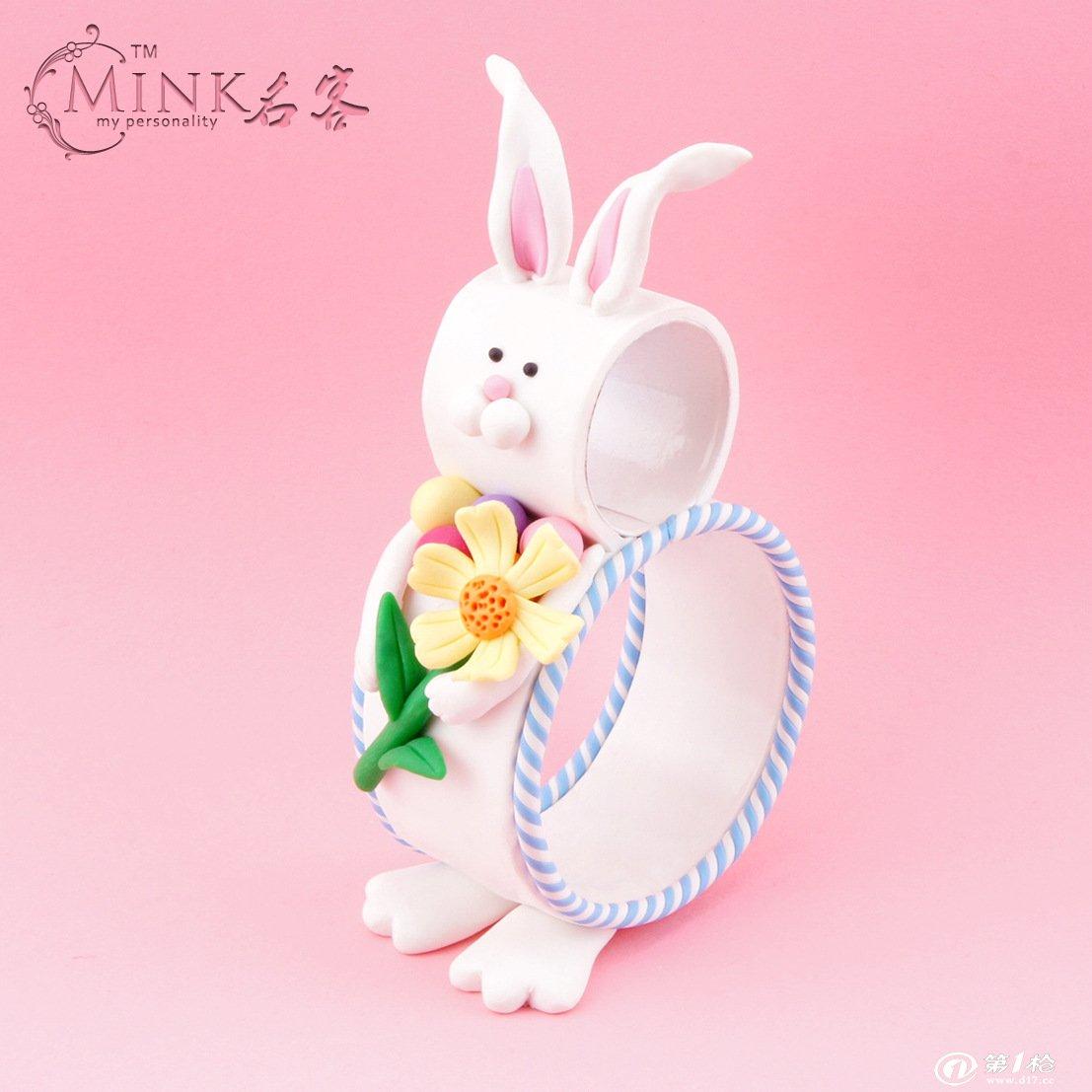 复活节软陶装饰兔子捧花 创意动物 创意摆件 复活节可爱礼物