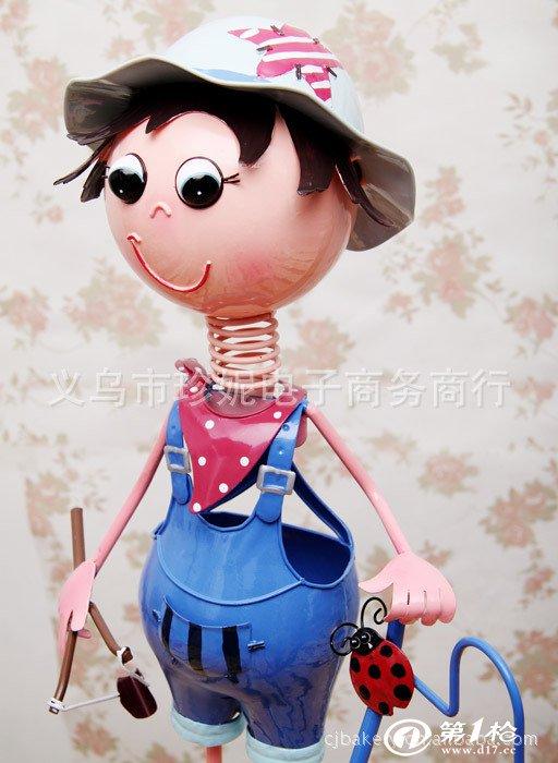 厂家直供 外贸原单 韩式田园风格铁皮娃娃鞋架 蓝色男孩 家居装饰