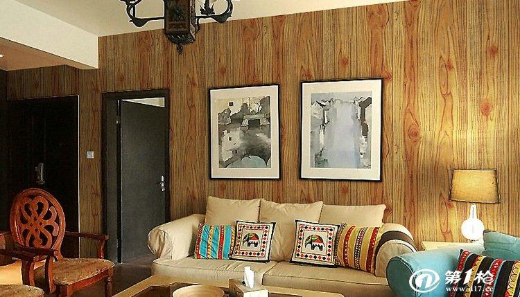 复古棕色木纹墙纸 中式装修风格 时尚背景墙壁纸 凹凸