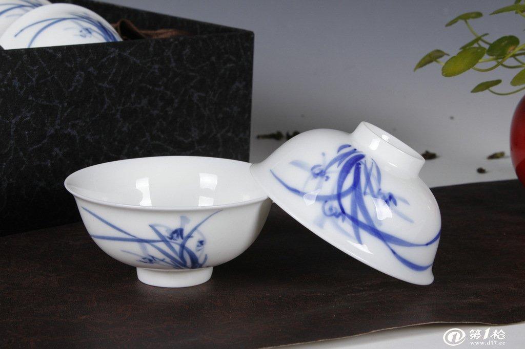 德化陶瓷茶具批发 手绘青花瓷茶具 陶瓷杯 口杯 茶盏