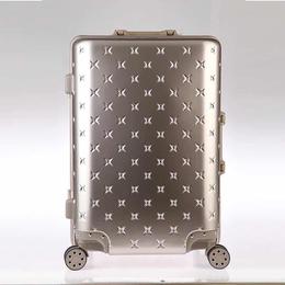 2017年新款骏仕铝框密码箱拉杆箱万向轮旅行箱