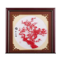 复古纯手工剪纸装饰画 青花瓷— 海阳馆