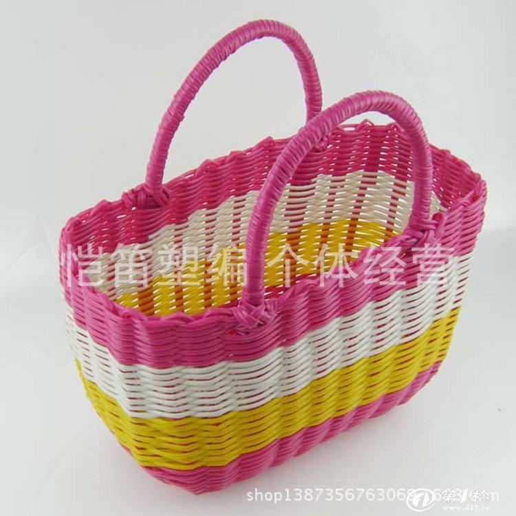 塑料管纯手工编织菜篮子