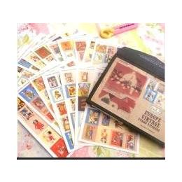 爆款贴纸DIY粘贴式手工相册装饰16张套装多功能贴画邮票贴图