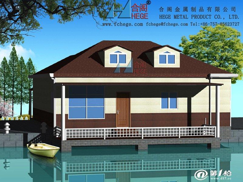 预制建筑物 木别墅,轻钢别墅 别墅型活动板房效果图  5,节能保温,屋顶