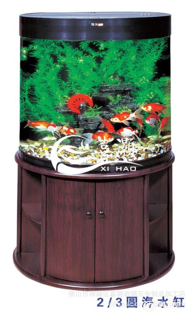 喜灏水族 生态鱼缸 鱼缸水族箱 圆形鱼缸 0.6半圆生态