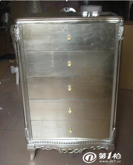 批发零售欧式家具书柜贴金银箔柜子