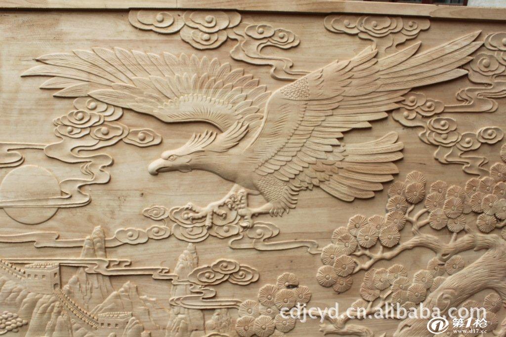 来料加工纯手工制作木雕大展宏图壁画