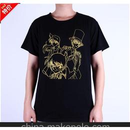 名侦探柯南2款烫金纯棉短袖T恤男女通用款 M L XL 批发