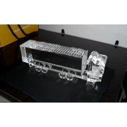 水晶玻璃<em>集装箱</em><em>卡车</em>汽<em>车模</em>型工艺品