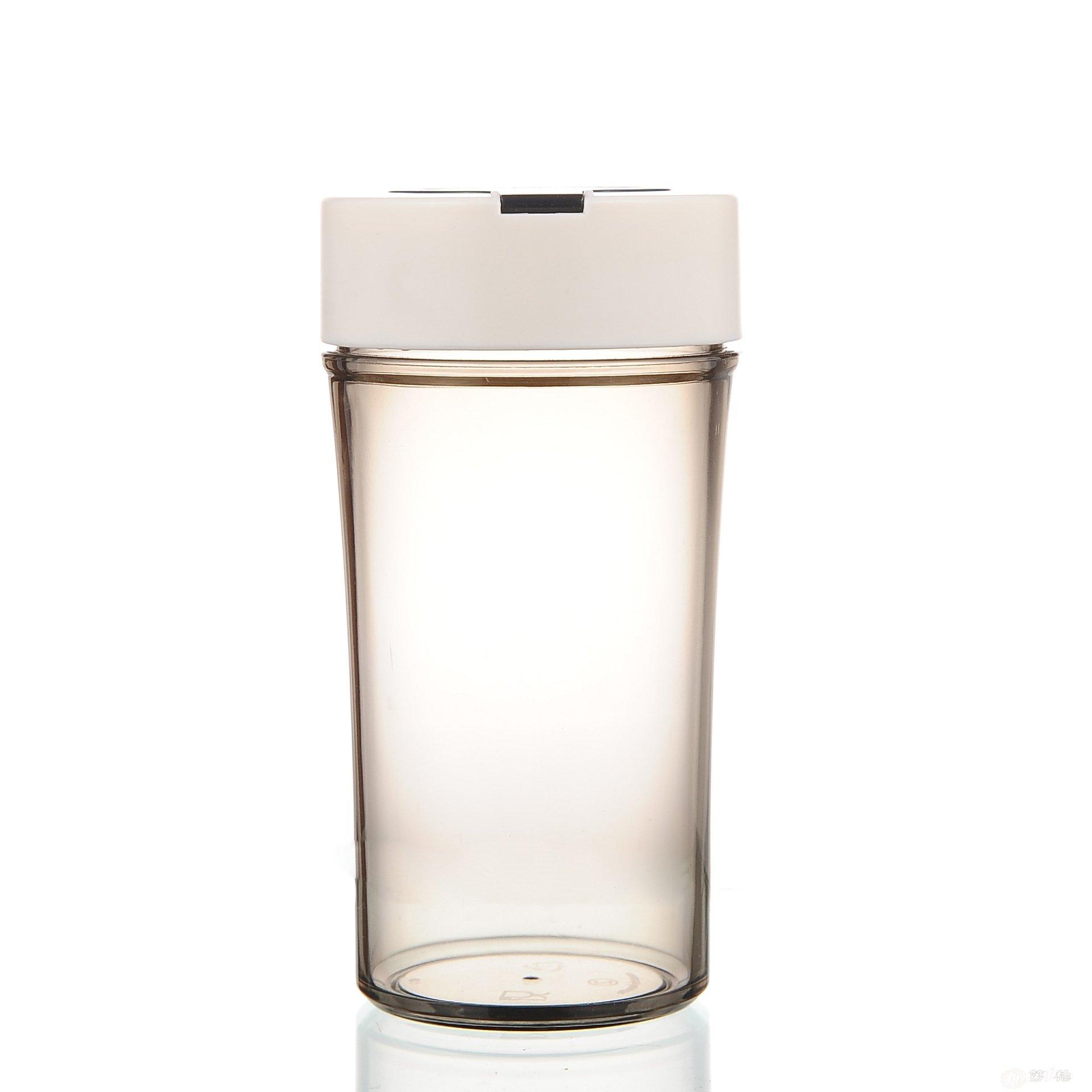 创意透明卡通表情塑料杯子带盖水杯带提手便捷儿童男女士杯