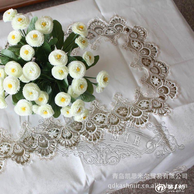加工定制外贸出口欧式水溶蕾丝提花缎桌布 多种尺寸系列 1052