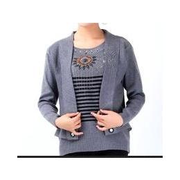 厂家供应 2013秋冬季中老年女装批发 大码女装毛衣 假二件针织衫