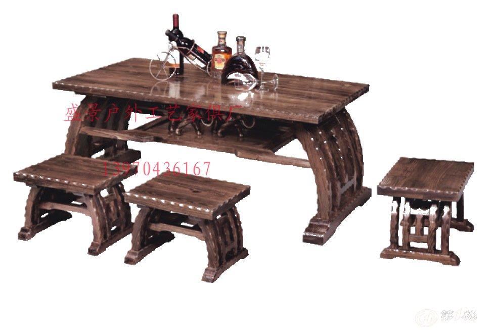 厂家直销户外休闲实木咖啡桌椅