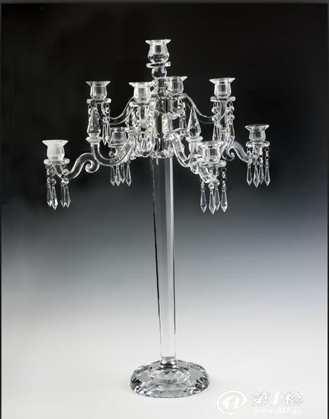 批发欧式五头水晶烛台婚礼婚庆专用烛台家居烛台水晶蜡烛台